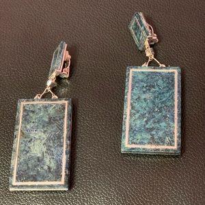 H&M Studio Clip on Faux Stone blue grey earrings